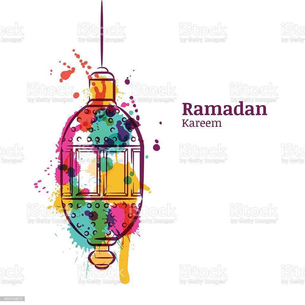 Ramadan Greeting Card With Traditional Watercolor Lantern stock vector ...