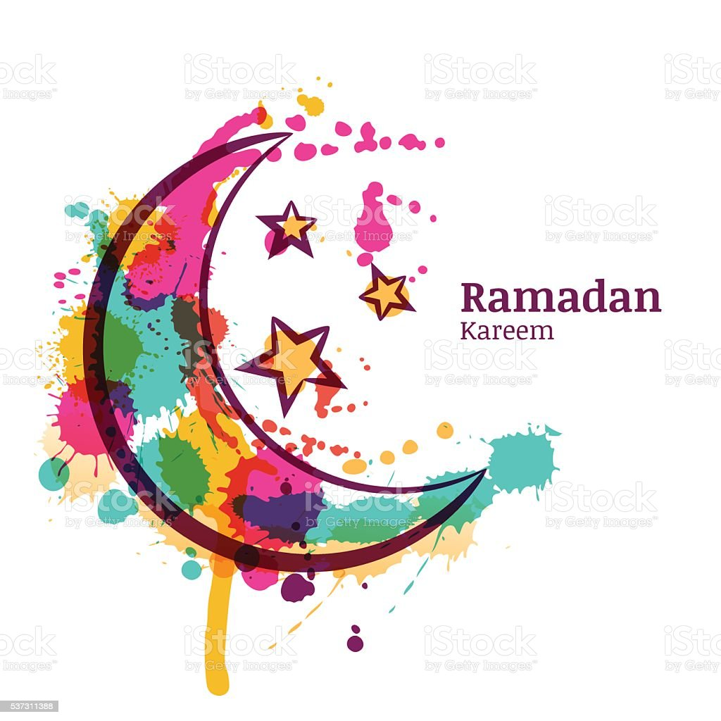 Ramadan greeting card with watercolor decorative moon and stars. vector art illustration
