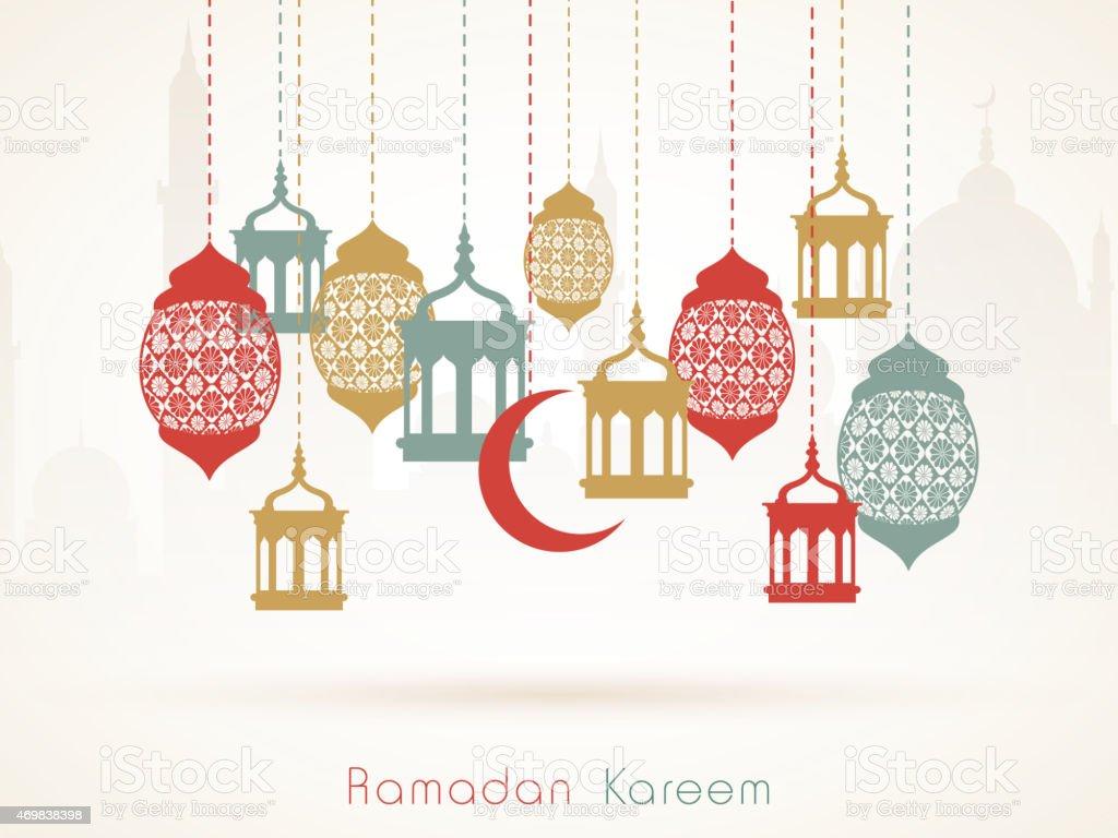 Ramadan holiday greeting card with holiday trinkets vector art illustration