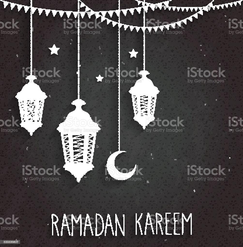Ramadan Kareem background on black chalkboard vector art illustration
