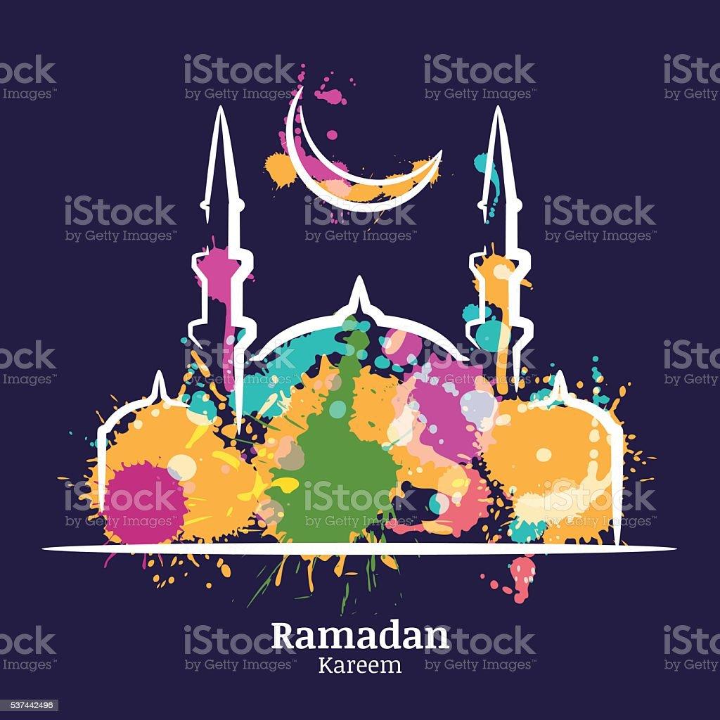 Ramadan Kareem card. Watercolor night illustration of mosque and moon. vector art illustration