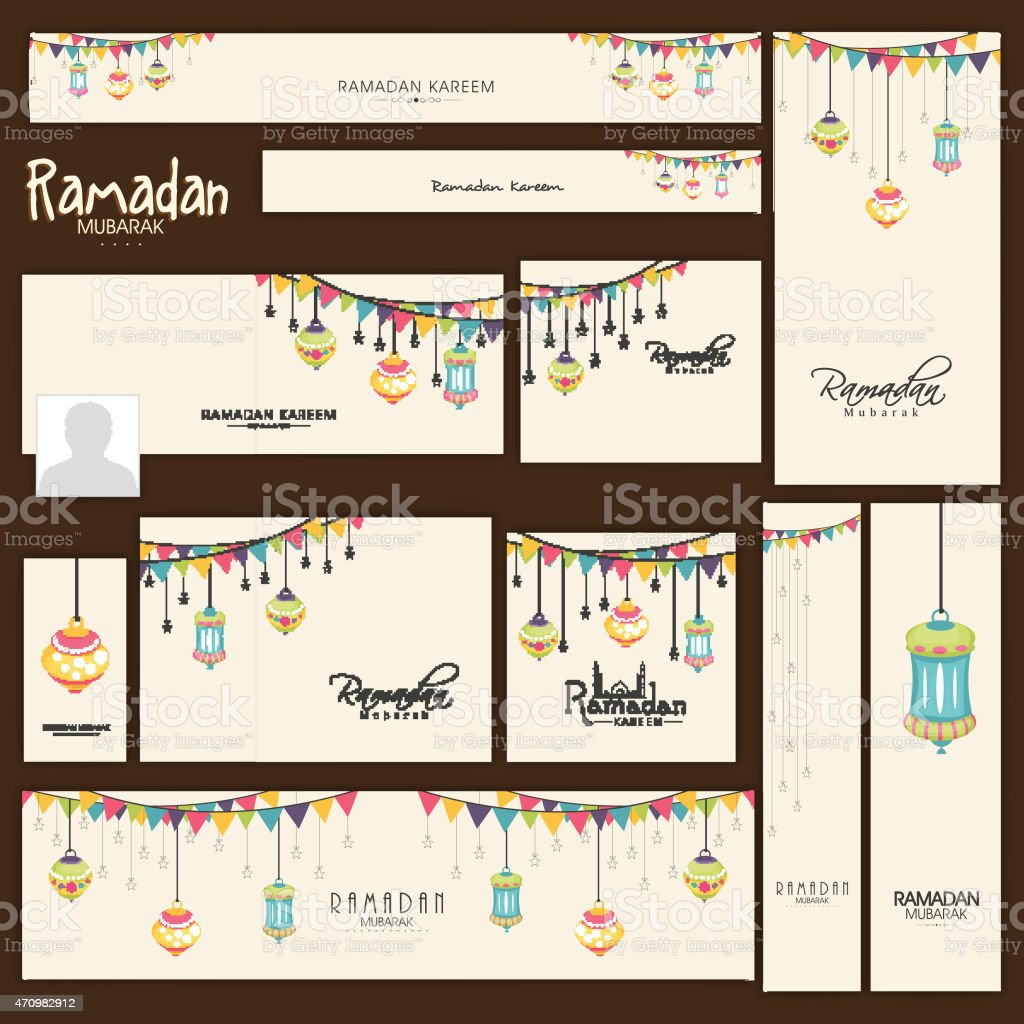 Ramadan Kareem celebration social media headers or banners. vector art illustration