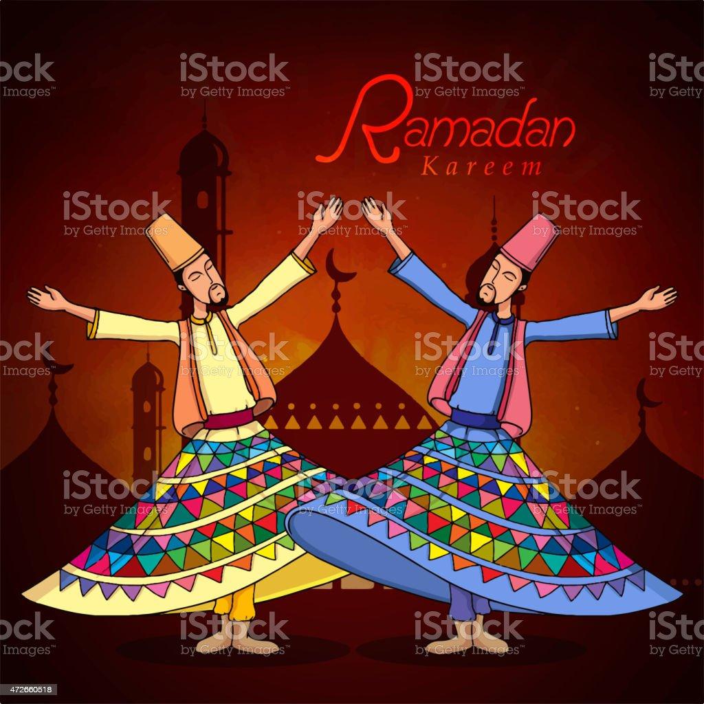 Ramadan Kareem celebration with dervish. vector art illustration