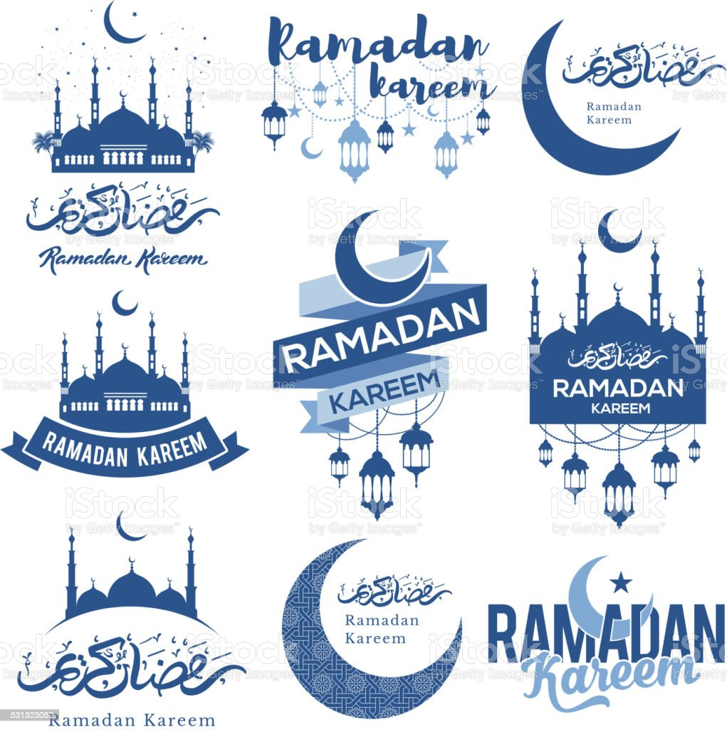 Ramadan Kareem emblems set vector art illustration