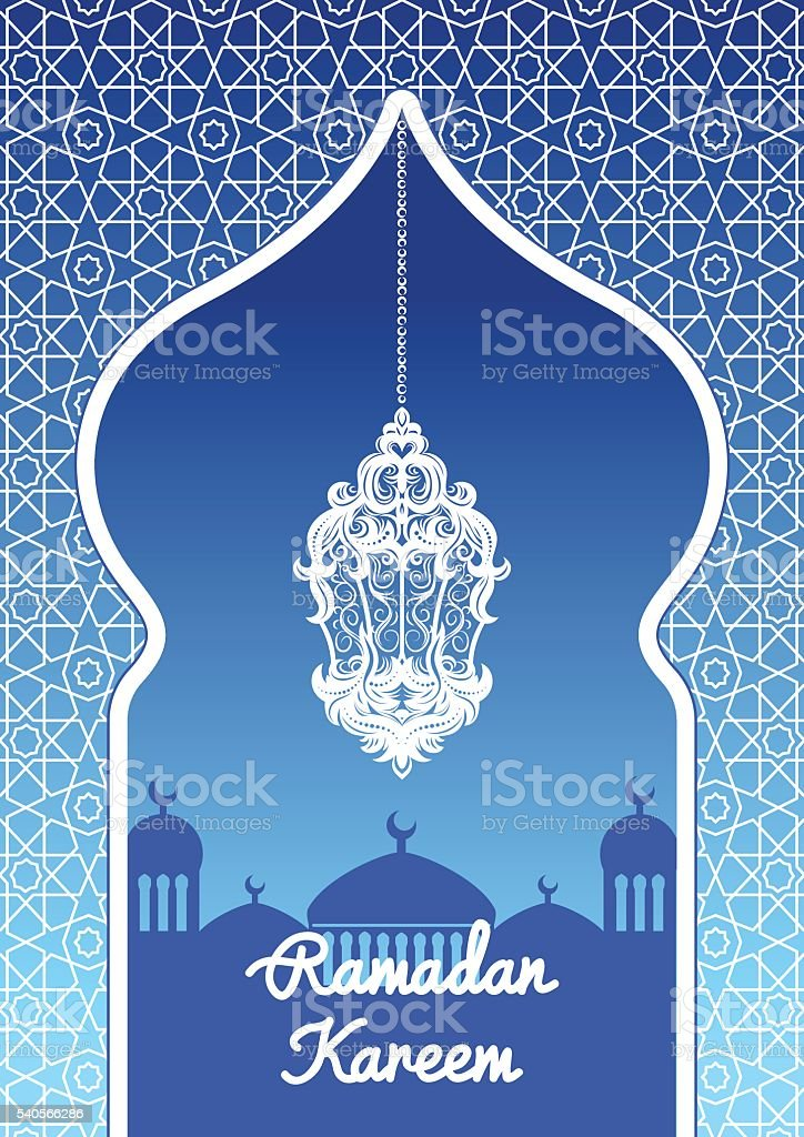 Ramadan Kareem greeting card with a silhouette of Arabic lamp. vector art illustration