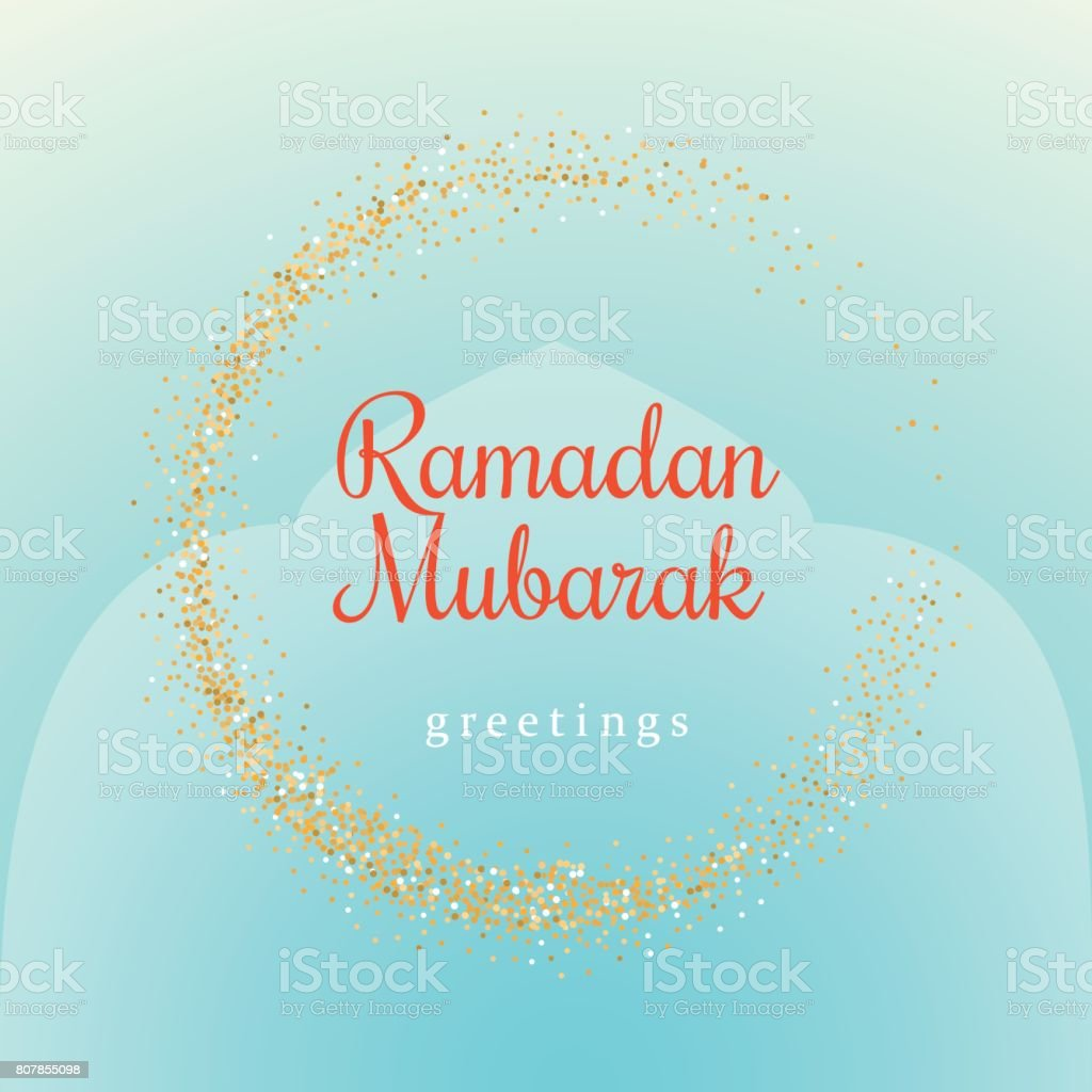 Ramadan Kareem illustration with golden moon symbol on a light turquoise background. vector art illustration