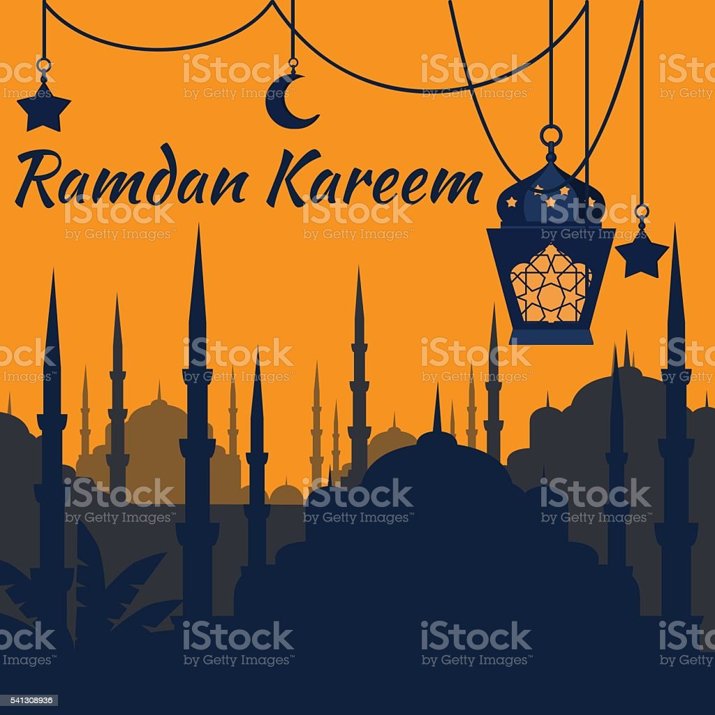 Ramadan Kareem Islamic Holy Nights, Ramadan latern, saint fest vector art illustration