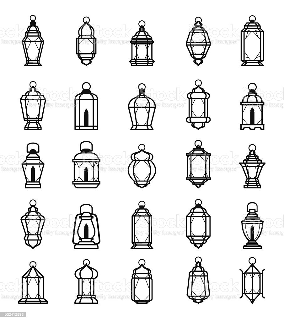 Ramadan Lantern Symbol Monochrome Background Vector Illustration vector art illustration
