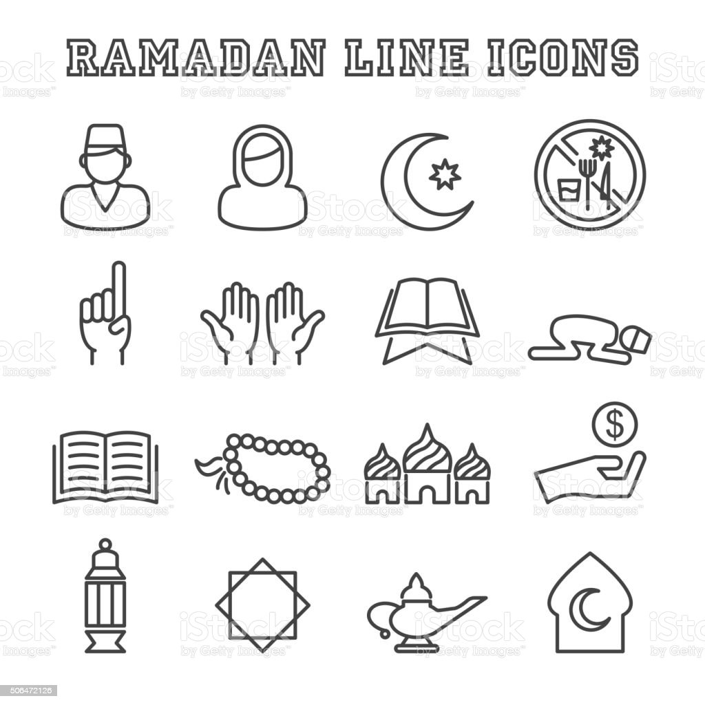 ramadan line icons vector art illustration