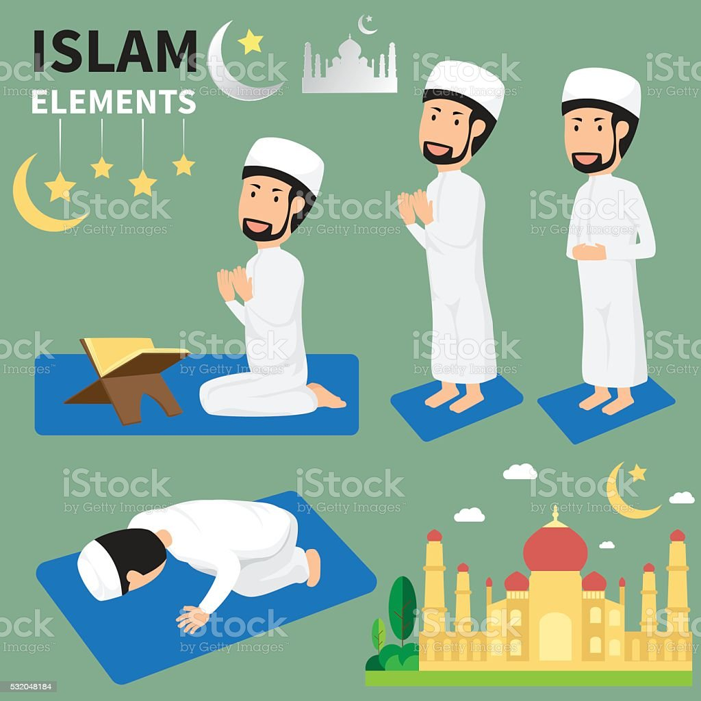Ramadan month for Muslims and muslim Men Doing Religious Rituals vector art illustration