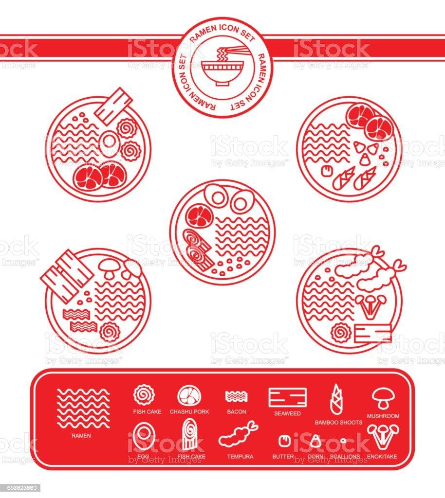 Ramen noodle icon set vector art illustration
