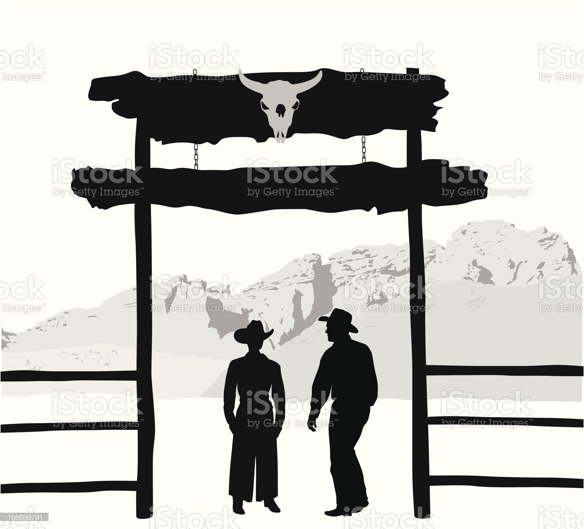 Ranchers Vector Silhouette royalty-free stock vector art