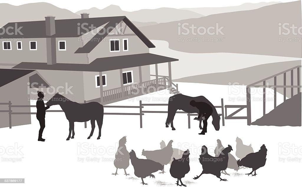 RanchHouse vector art illustration