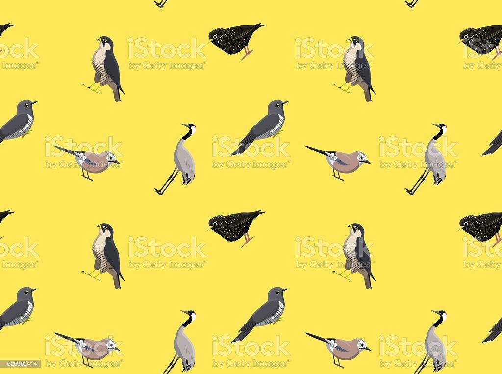Random European Birds Wallpaper 2 vector art illustration