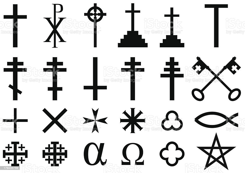A range of Christian symbols on a white background royalty-free stock vector art