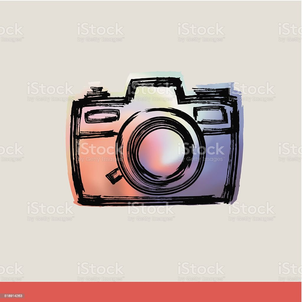 Rangefinder camera with Brushwork vector art illustration