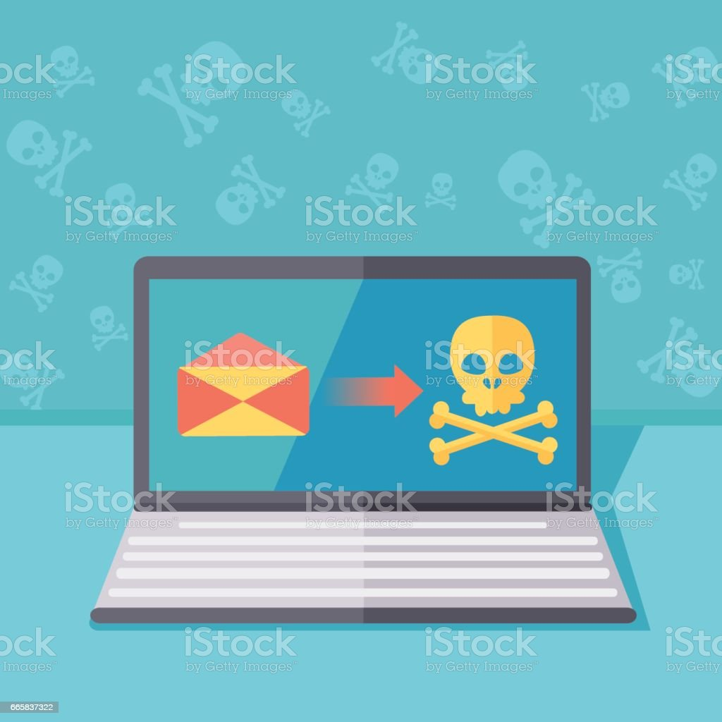 Ransomware protection or phishing security vector concept illustration. Hacking by email spoofing or instant messaging. Online computer virus threat and safety. Unsecured server fraud or attack. vector art illustration