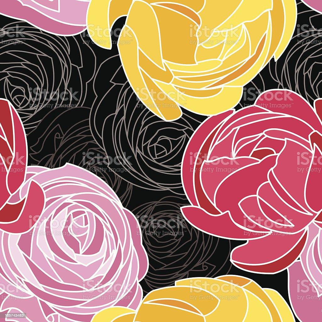 Ranunculus Floral Pattern vector art illustration