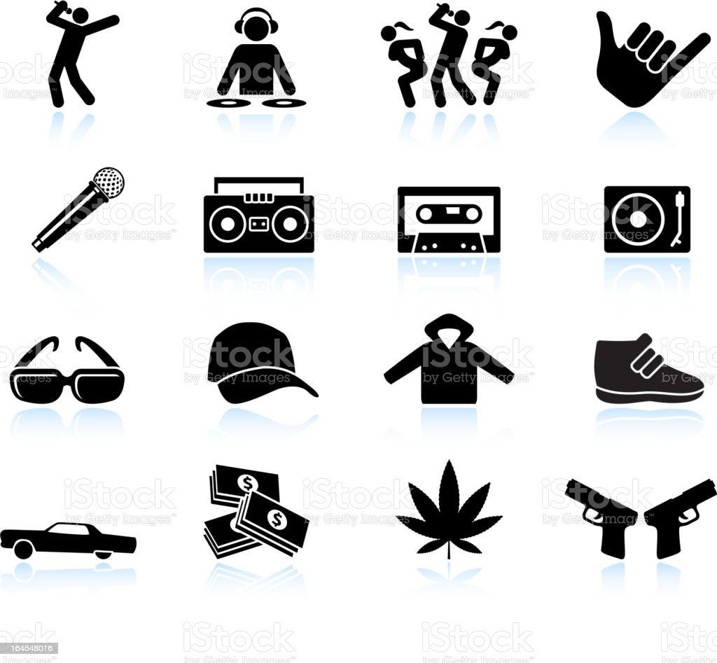 Rap and hip-hop music black & white vector icon set vector art illustration