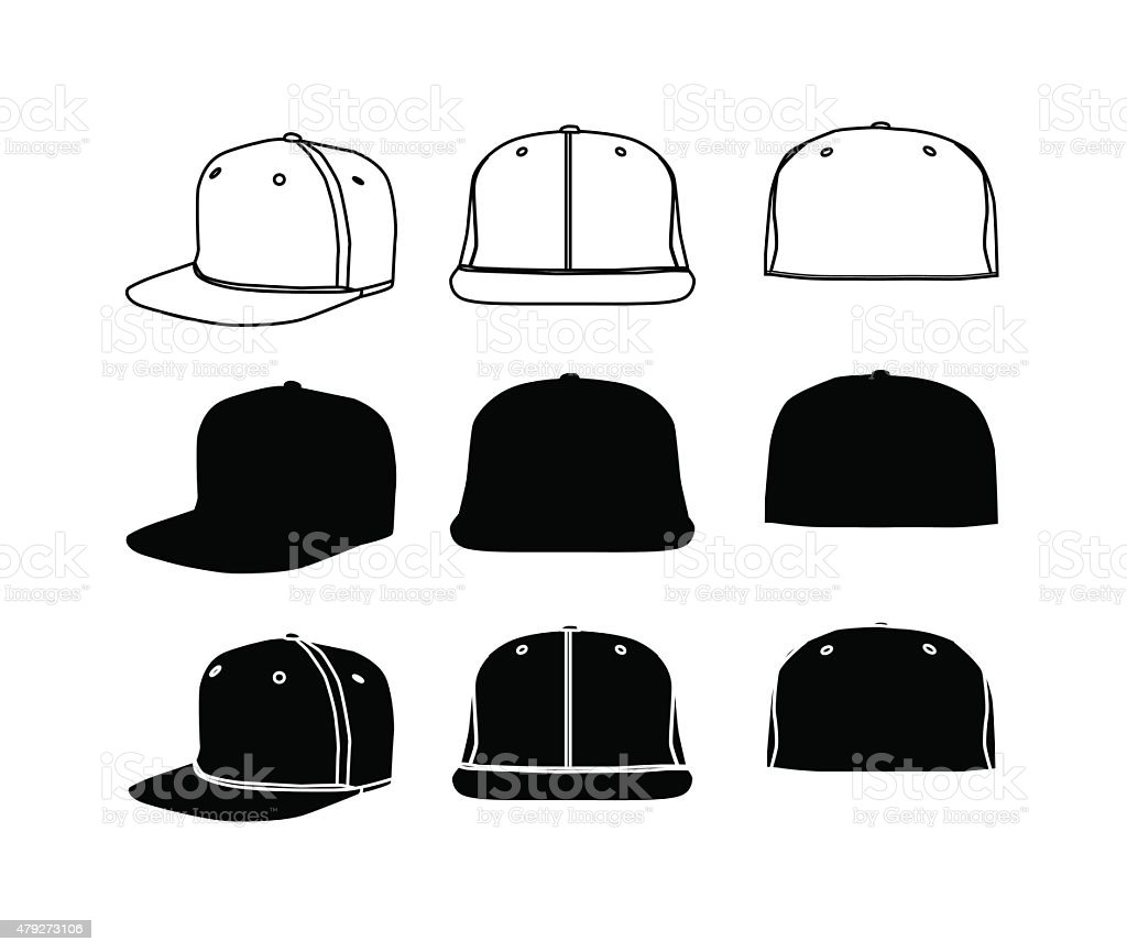 Rap cap silhoette set vector art illustration