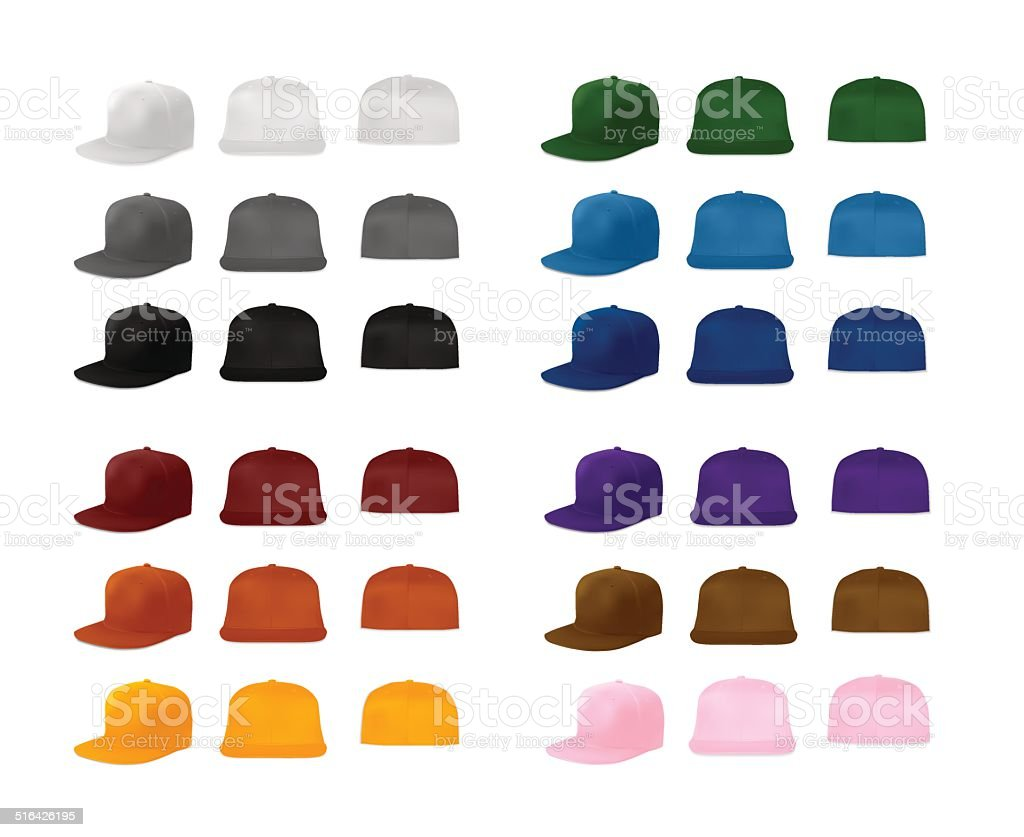 Rap cap template set vector art illustration