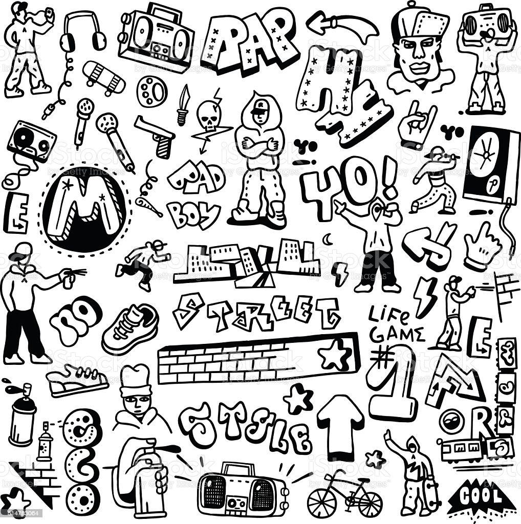 rap, hip hop , graffiti - doodles set vector art illustration