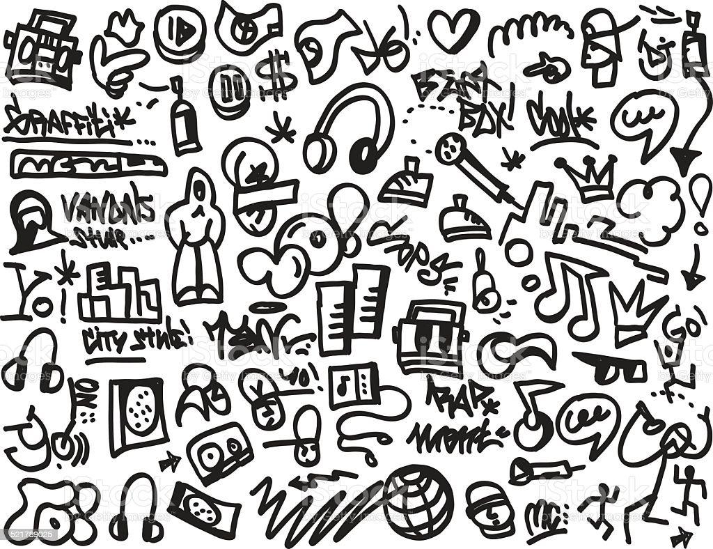rap music icons vector art illustration
