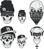 Rap skulls for emblems,logo and tattoo.