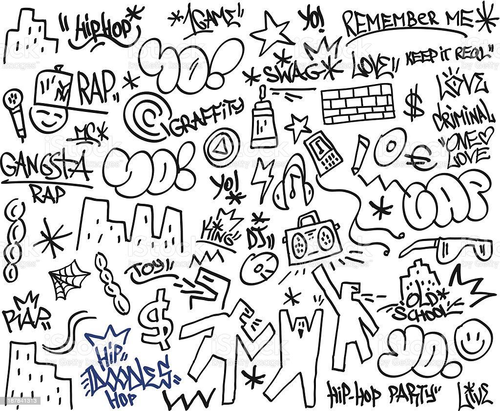 rap,hip hop - doodles royalty-free stock vector art