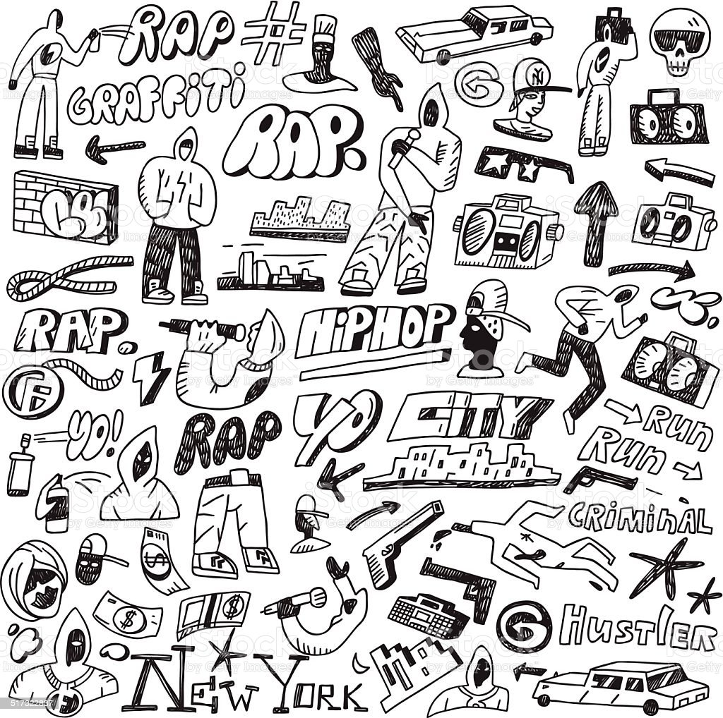rap,hip hop ,graffiti - doodles set vector art illustration
