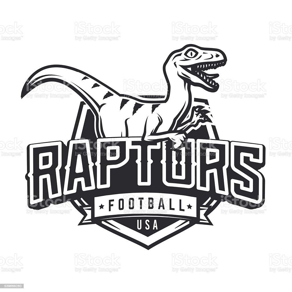 Raptor sport mascot design. Vintage college team coat of arms vector art illustration