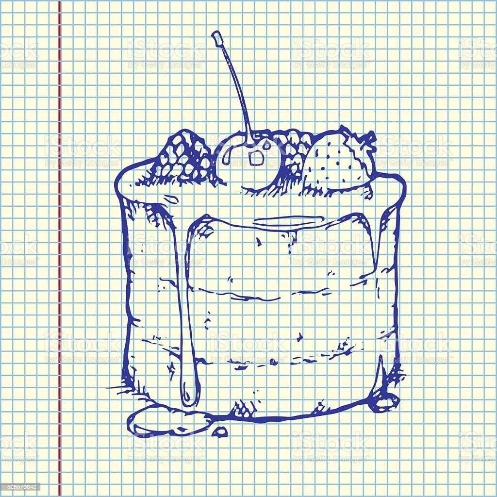 Raspberry Cake on sheet vector art illustration