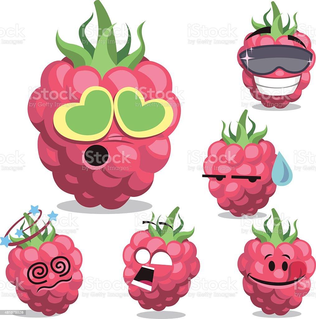 Raspberry Cartoon Set A vector art illustration