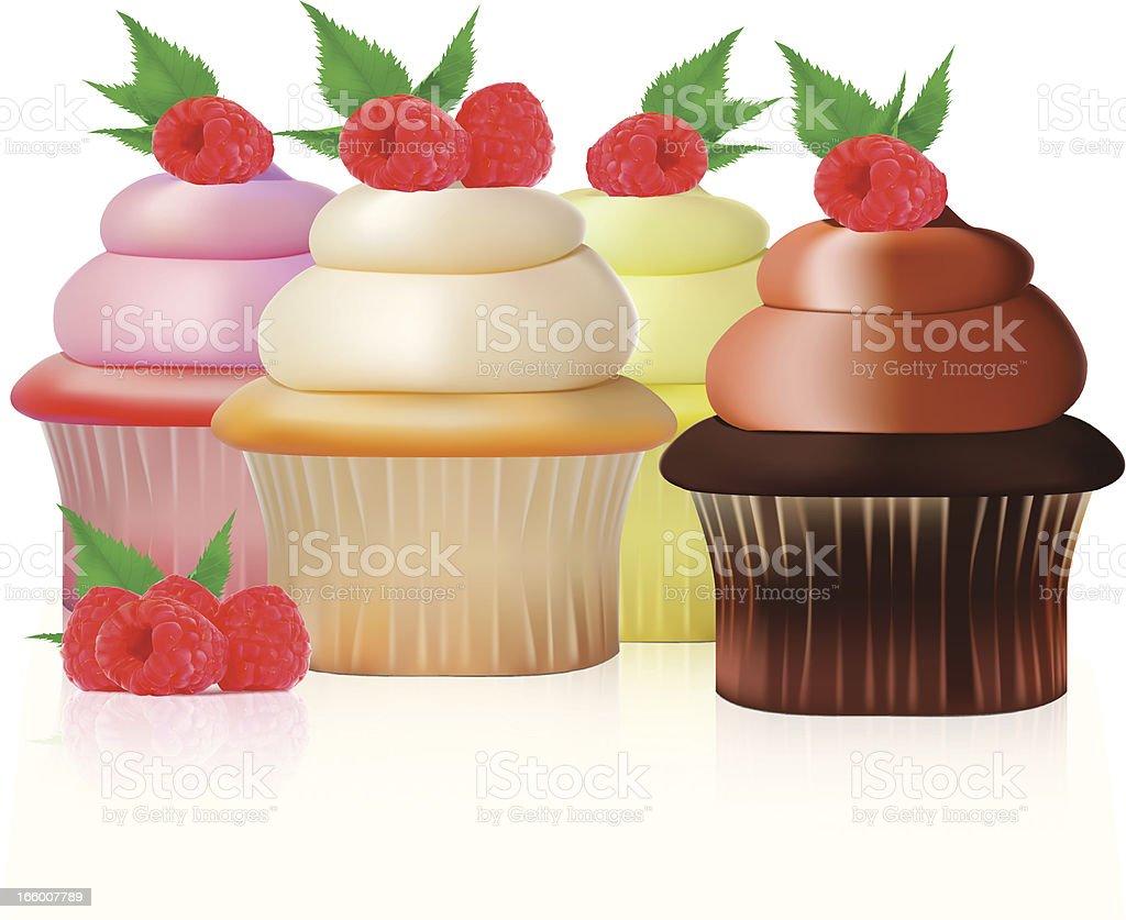 Raspberry Cupcake - Vector Illustration royalty-free stock vector art