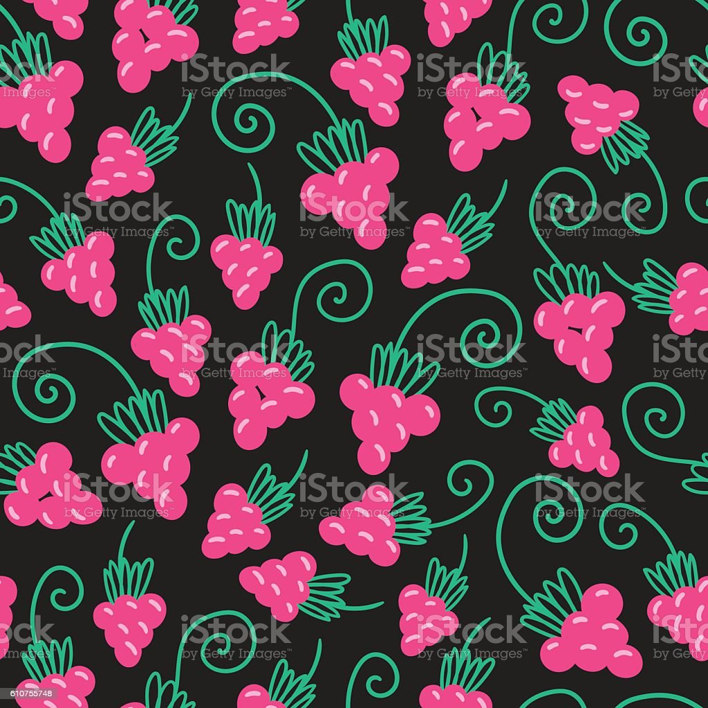 Raspberry fruit nature pattern vector art illustration