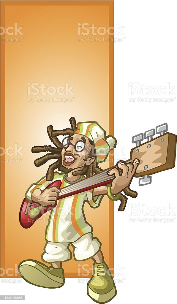 Rastafarian Guitar royalty-free stock vector art