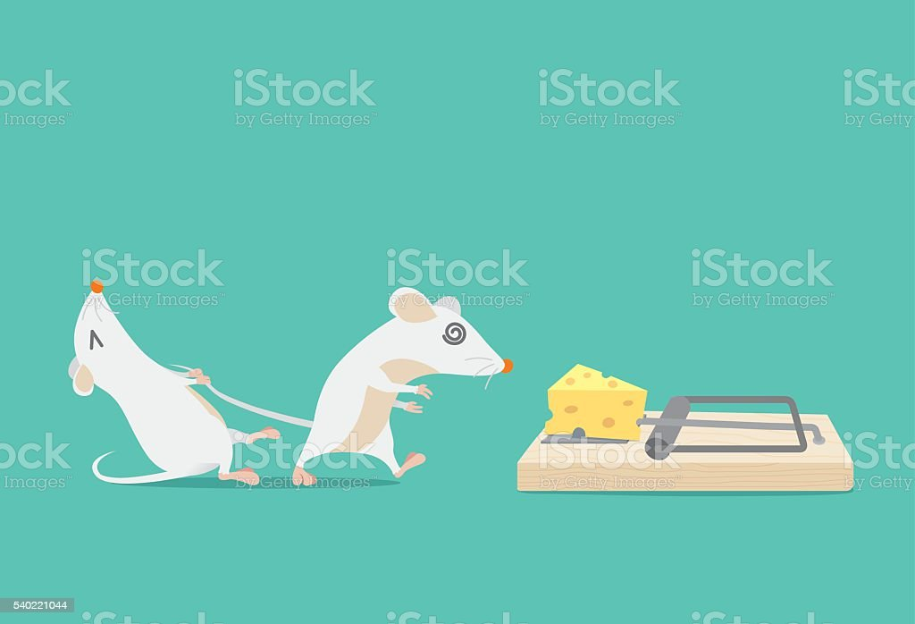 Rat try to stop friend to trapped because cheese. vector art illustration