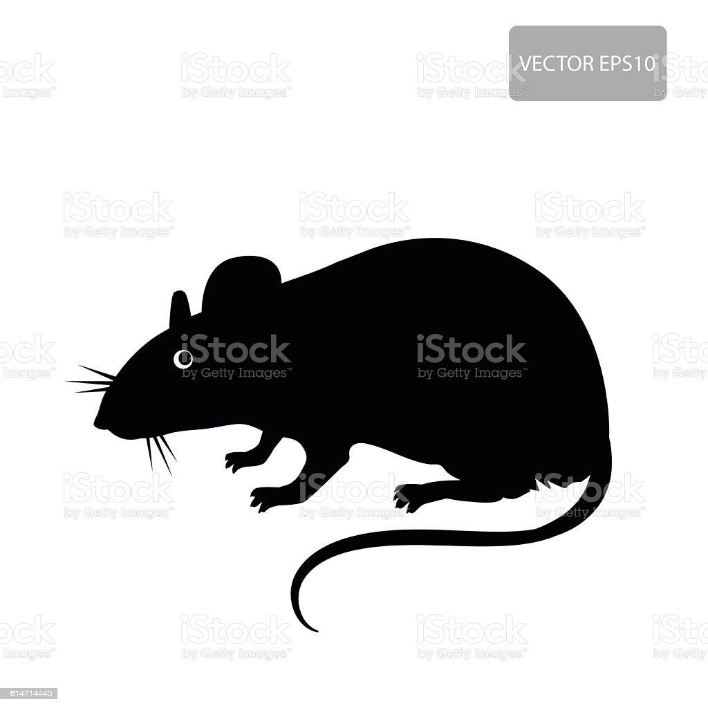 Rat Vector. Rat Silhouette On The White Background. vector art illustration