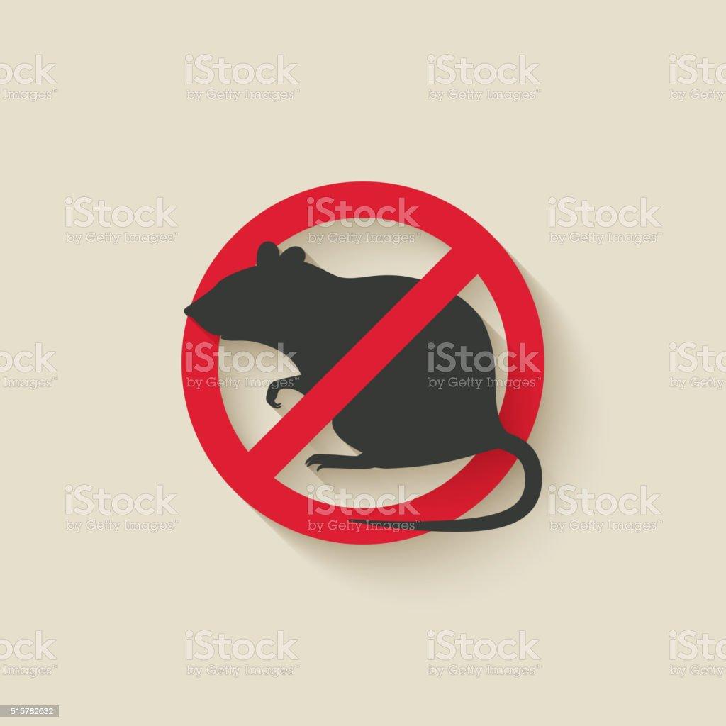 rat warning sign vector art illustration