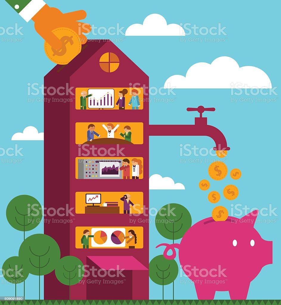 Rate of Return: Corporation vector art illustration