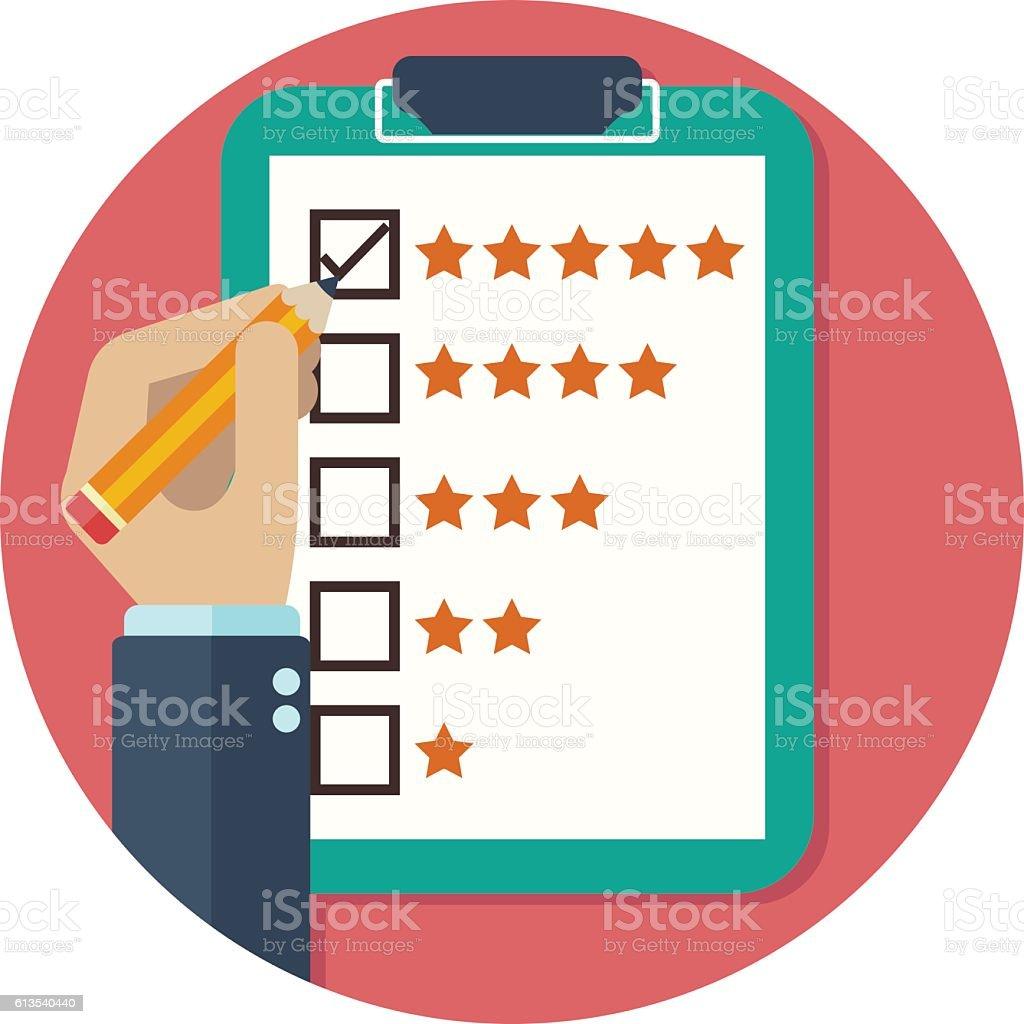 Rating on customer service illustration. vector art illustration