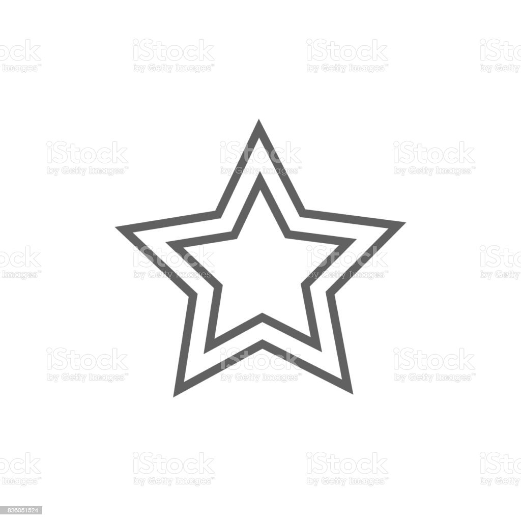 Rating star line icon vector art illustration