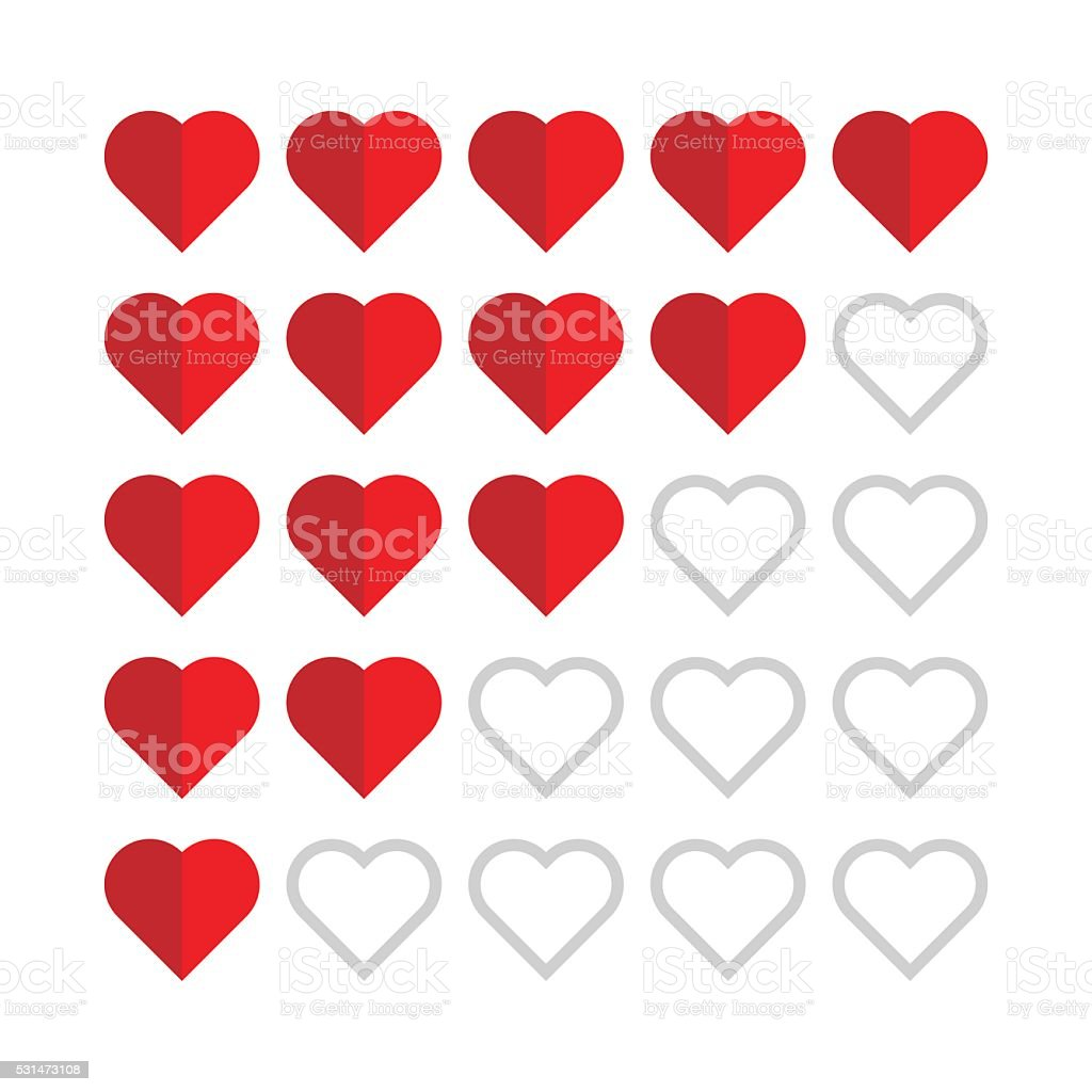 Rating with flat hearts stock photo