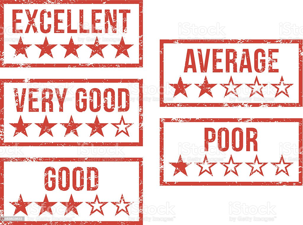 Ratings and reviews - rubber stamps vector art illustration