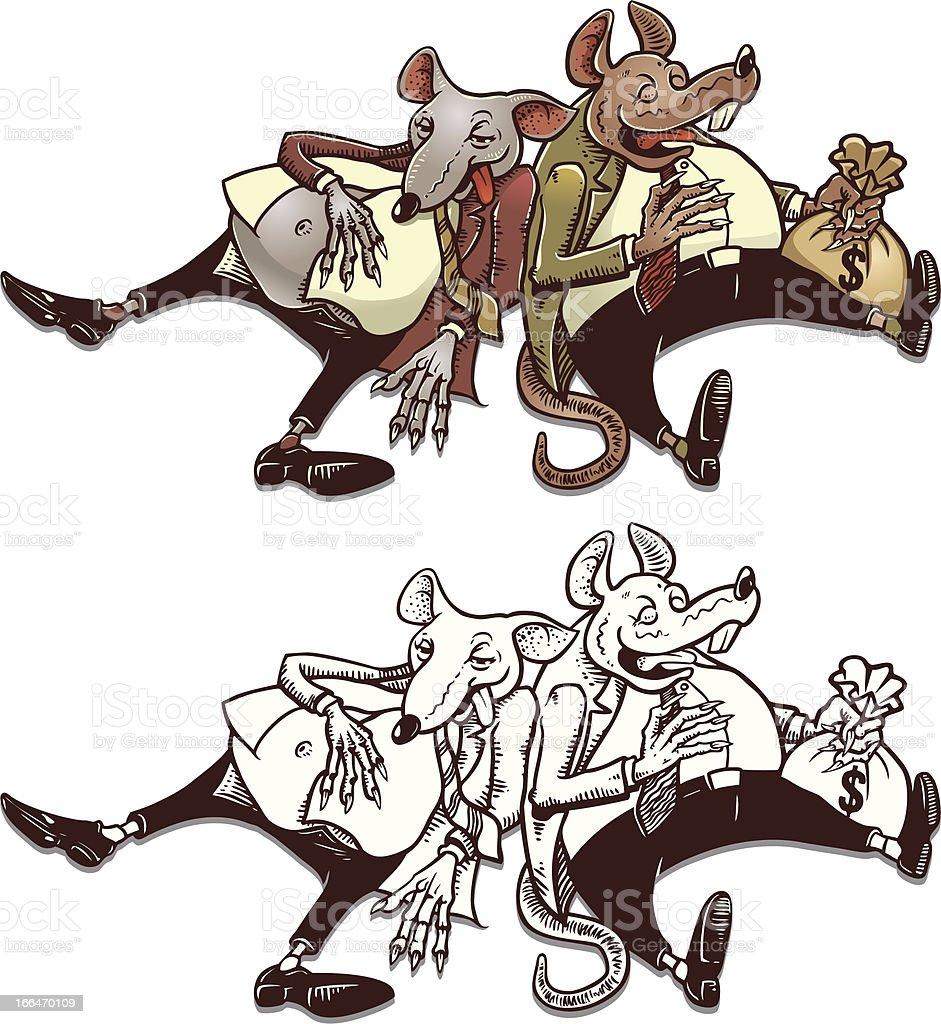 Rats And Money Bag royalty-free stock vector art