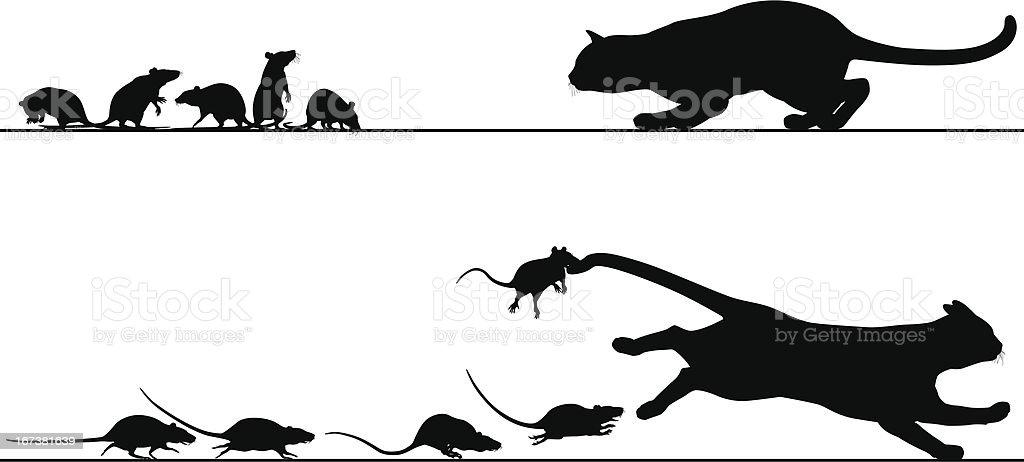 Rats chasing cat vector art illustration