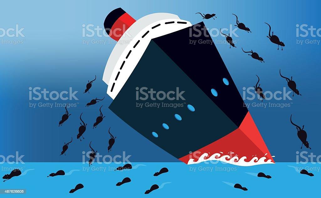 Rats leaving a sinking ship vector art illustration