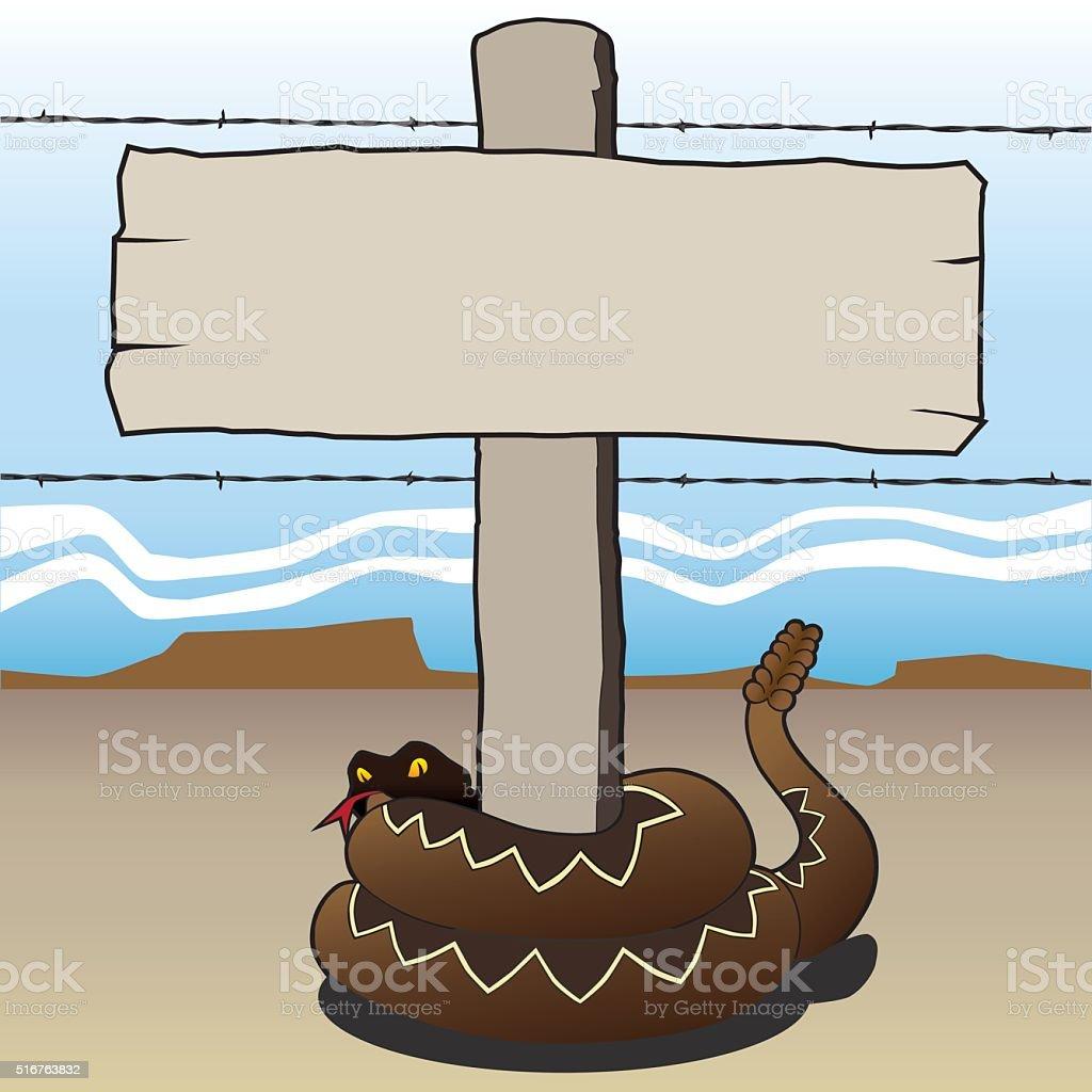 Rattlesnake with sign vector art illustration