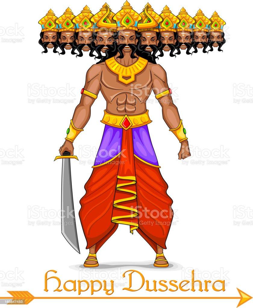 Ravana with ten heads for Dussehra royalty-free stock vector art