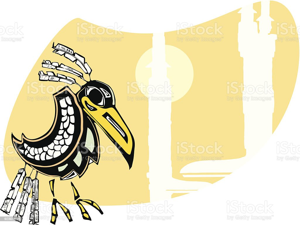 Raven and Totems royalty-free stock vector art
